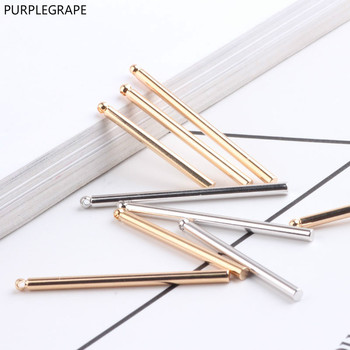 PURPLEGRAPE Copper plated 18k gold color DIY jewelry accessories cylindrical long stick ear clip earrings material 10pcs