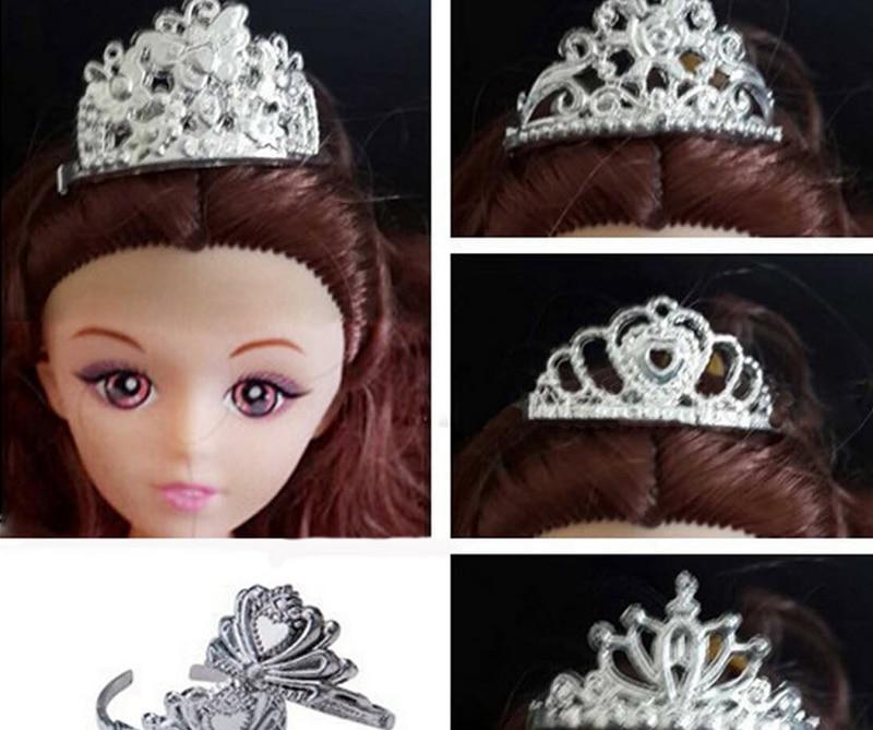 5pcs/lot Doll Accessories Plastic Crown Tiara Headwear Hairwear Hair Accessories For Barbie Dolls For 1/6 BJD Doll House Toy