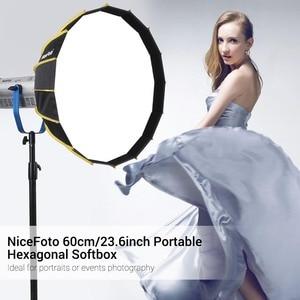 Image 5 - Nicemoto Caja difusora Hexagonal de Instalación rápida, portátil, 60cm, tela difusora, tira de rejilla, paraguas, caja suave para luz Flash de estudio