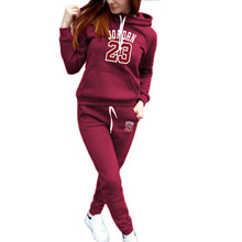 European and American fashion casual suit women's autumn and winter new style plus velvet hooded sweater and trousers women's fa