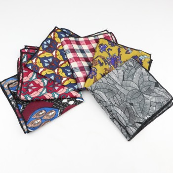 Chiffon Handkerchief Floral Polyester Hankies Men's Pocket Square Leaves Handkerchiefs Striped Geometric Scarves