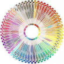 100 ألوان جل أقلام مجموعة ، بريق جل القلم ل كتب تلوين للكبار المجلات الرسم العبث أقلام تلوين