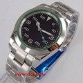 40mm bliger no logo esfera negra marcas luminosas funda sólida fecha ventana zafiro vidrio automático hombre reloj B179