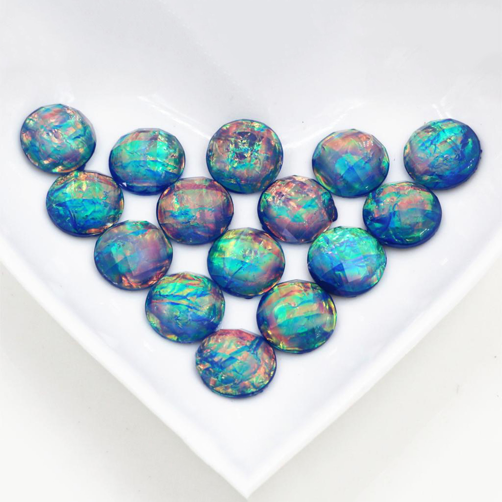 New Fashion 40pcs 12mm Blue Color Tangent Plane Built-in Metal Foil Flat Back Resin Cabochons Cameo  Z5-20