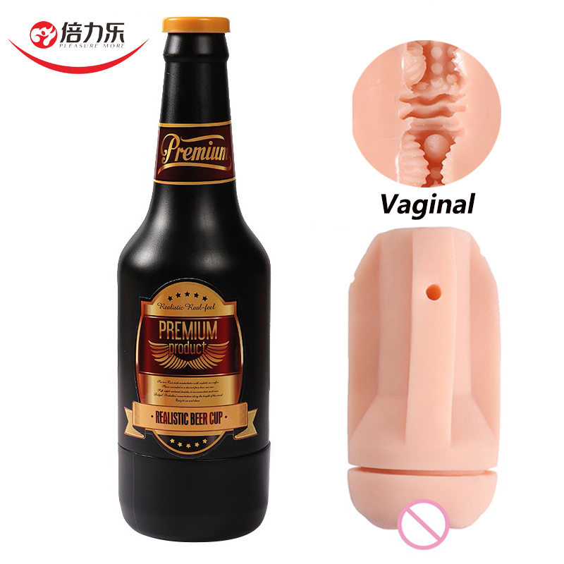 Beer Shape Realistic Vagina Soft Pussy Male Masturbation Aircraft Cup Penis Massage Oral Adult Sex Toys For Men Sex Shop Gift