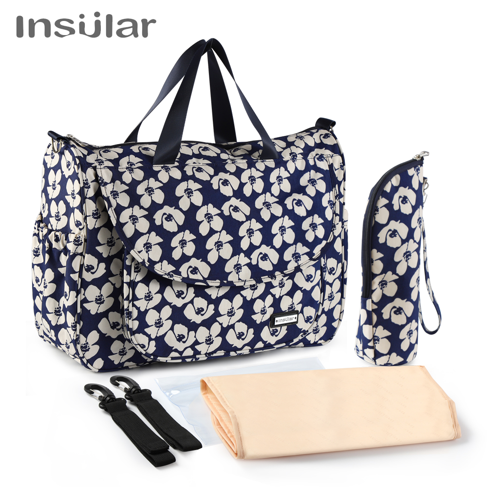 Floral Baby Diaper Bags Large Capacity Waterproof Mummy Maternity Fashion Nappy Messenger Nursing Strollers Bag Organizer