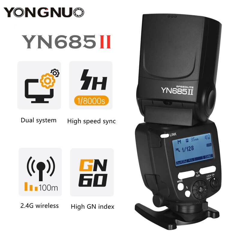 YONGNUO YN685II TTL Flash 2.4G Wireless HSS 1/8000s GN60 Master Speedlite Light For Canon 5D3 6D2 800D 77D 7D2 T4i T3i 1300D 70D