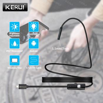 KERUI Mini kamera endoskopowa 7mm 5 5mm USB kamera do androida endoskop kamera inspekcyjna boroskop wodoodporny 6 LEDs regulowany tanie i dobre opinie CN (pochodzenie) NONE Miękki przewód endoscope camera 1M 1 5M 2M IP67 Waterproof 6 Adjustable White LEDs Endoscope Android