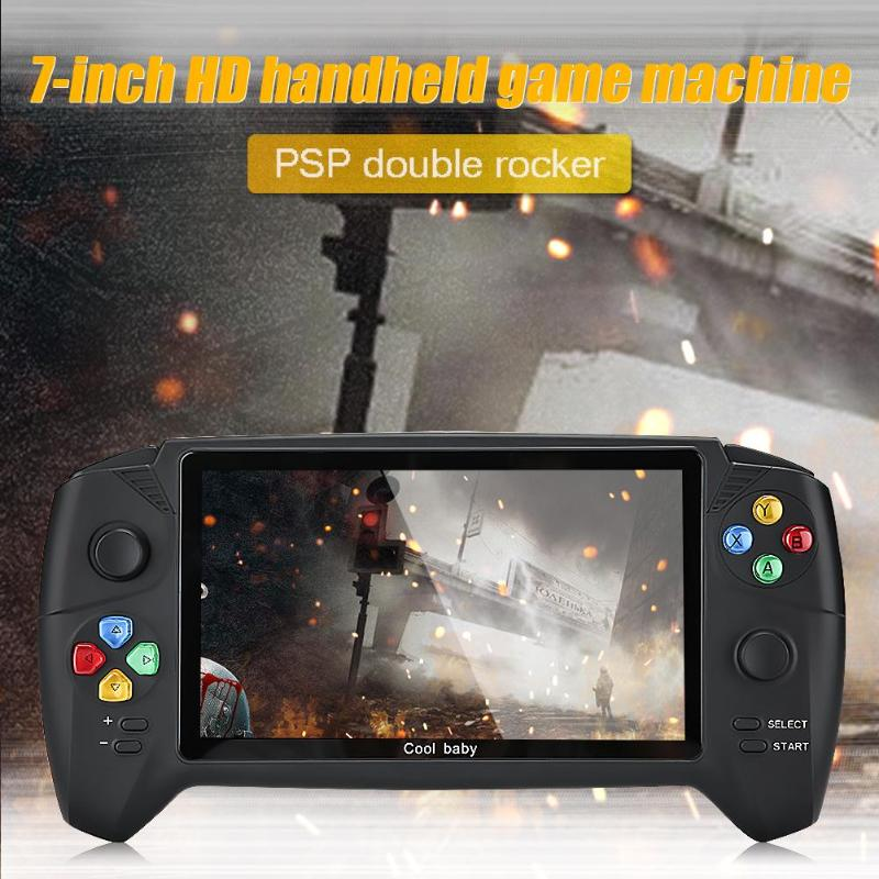 New HD 7 inch handheld game console support kinds of emulators max 48G 3000 games double player for GBA NES retro game console title=