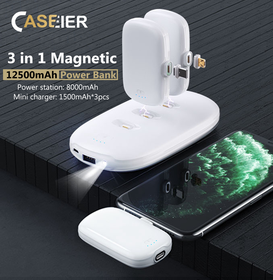 CASEIER 4PCS 12500mAh Magnetic <font><b>Power</b></font> <font><b>Bank</b></font> For iPhone 11 Pro Max Samsung <font><b>Xiaomi</b></font> 12500 mAh Powerbank Portable Charger Lighting image