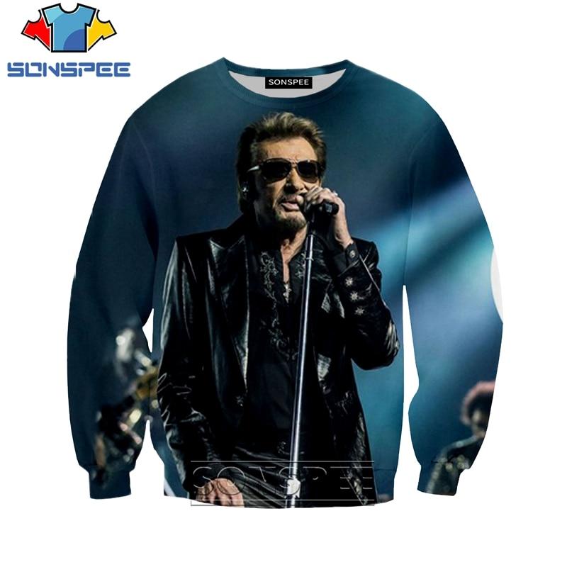 Sweatshirts Causal Long Sleeve SONSPEE 3D Print Men Women O Neck Streetwear Fashion Johnny Hallyday Printd Pullover Tops Hoodie
