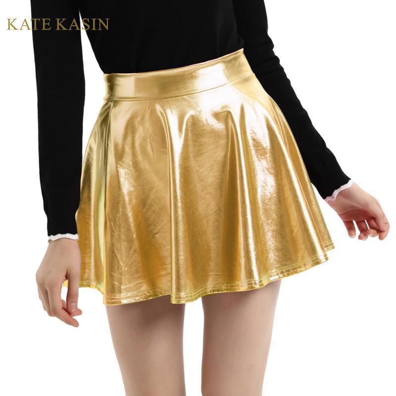 WHITEWomen Lady Satin Shiny Mini Skirt Pleated Retro High Waist Club S~3XL
