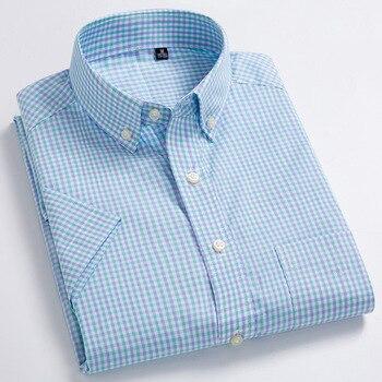 Men Shirt Short Sleeve 100% Pure Cotton Summer Checker Korean Ultra-thin Slim Mens Casual Fit Half-sleeved