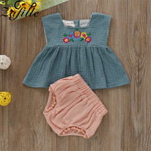 ZAFILLE 2020 Baby Girl Clothes 2Pcs Kids Clothes Girls Sleeveless Top + Shorts Baby Clothes Toddler Outfits Sets Girls Clothing winter baby girl clothes set kids clothing sets thick warm baby coats pants 2pcs kids suits flower toddler baby clothes outfits