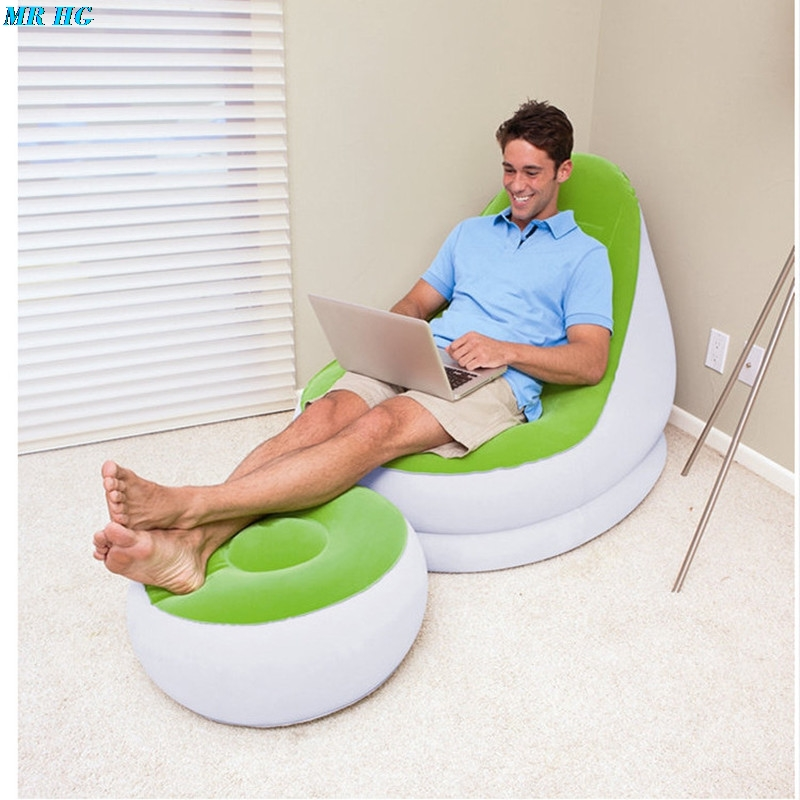 Inflatable Sofa Flocked PVC Lounge Air Chair With Foot Rest Indoor Outdoor Living Room Ottoma Stool Garden Lounger