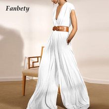 Fashion Casual Pocket Loose Jumpsuit 2021 Summer Women Elegant Soft Wide Leg Rompers Lady Sexy V-Neck Sleeveless Party Playsuits