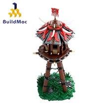 Fantasia orc torre cidade aldeia caçador besta arquitetura mini blocos modelo de construção tijolos conjunto especialista
