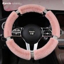 Karcle Pluizige Stuurhoes Met Bling Steentjes Diamant Bont Auto Steering Covers Universele 38Cm Voor Vrouwen Meisje