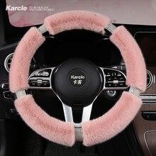 Karcle Fluffy pokrowiec na kierownicę z Bling dżetów diamentowe futrzane pokrowce na kierownicę samochodu uniwersalny 38cm dla kobiet dziewczyna
