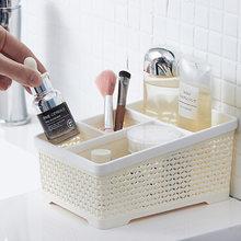 Qdrr cosméticos do agregado familiar caixa de armazenamento maquiagem escova batom acabamento desktop mesa prateleira simples caixa de armazenamento plástico