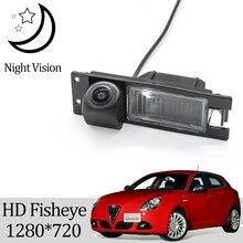 Owtosin câmera de visão traseira, hd 1280*720, olho de peixe, para alfa romeo giulietta 940 2010-2018/alfa romeo acessórios para estacionamento gt 2003-2018