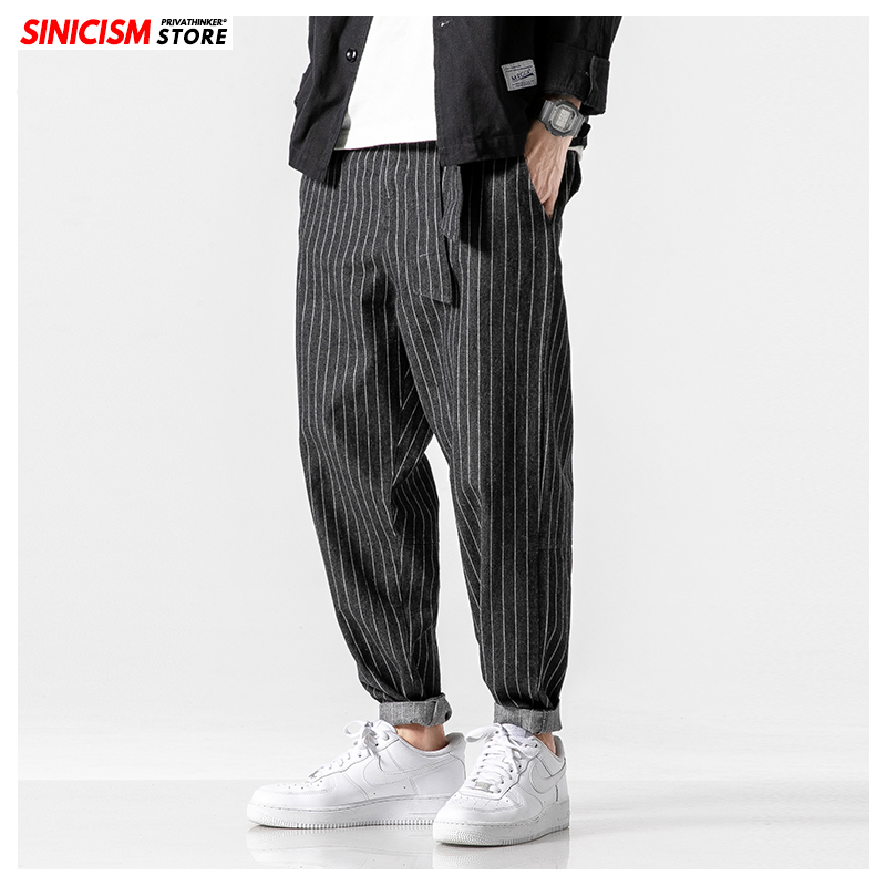 Sinicism Men's 2020 Streetwear Loose Denim Pants Men Autumn Winter Striped Oversize Harem Pants Male Fashion Pockets   Jeans