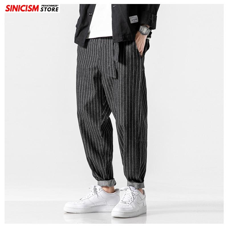 Sinicism Men's 2020 Streetwear Loose Denim Pants Men Autumn Winter Striped Oversize Harem Pants Male Fashion Pockets Jeans