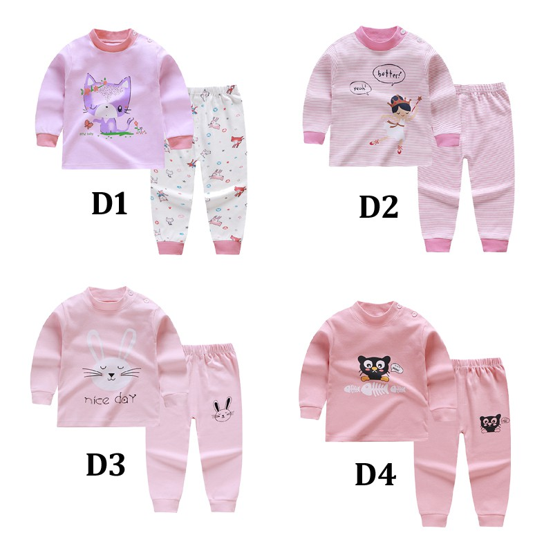 2019 Kids   pajamas     set   for 0-7years fashion printed sleepwear   set   with long sleeves baby girls cotton clothes   set