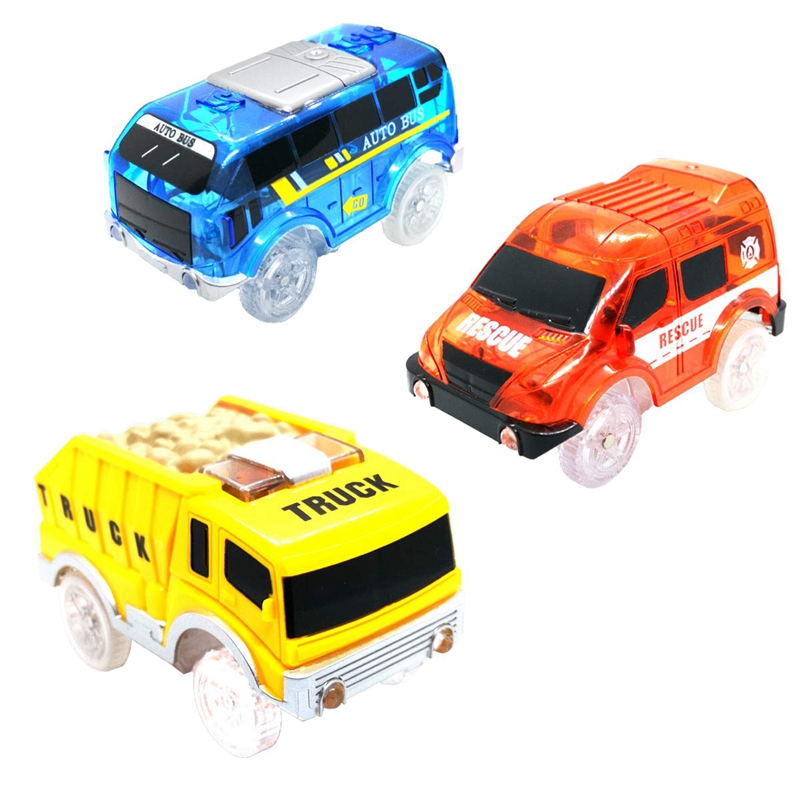 3 Pack Track Cars Compatible With Magic Tracks And Neo Tracks Replacement Light Up Racing Track Accessories With 5 Flashing LED