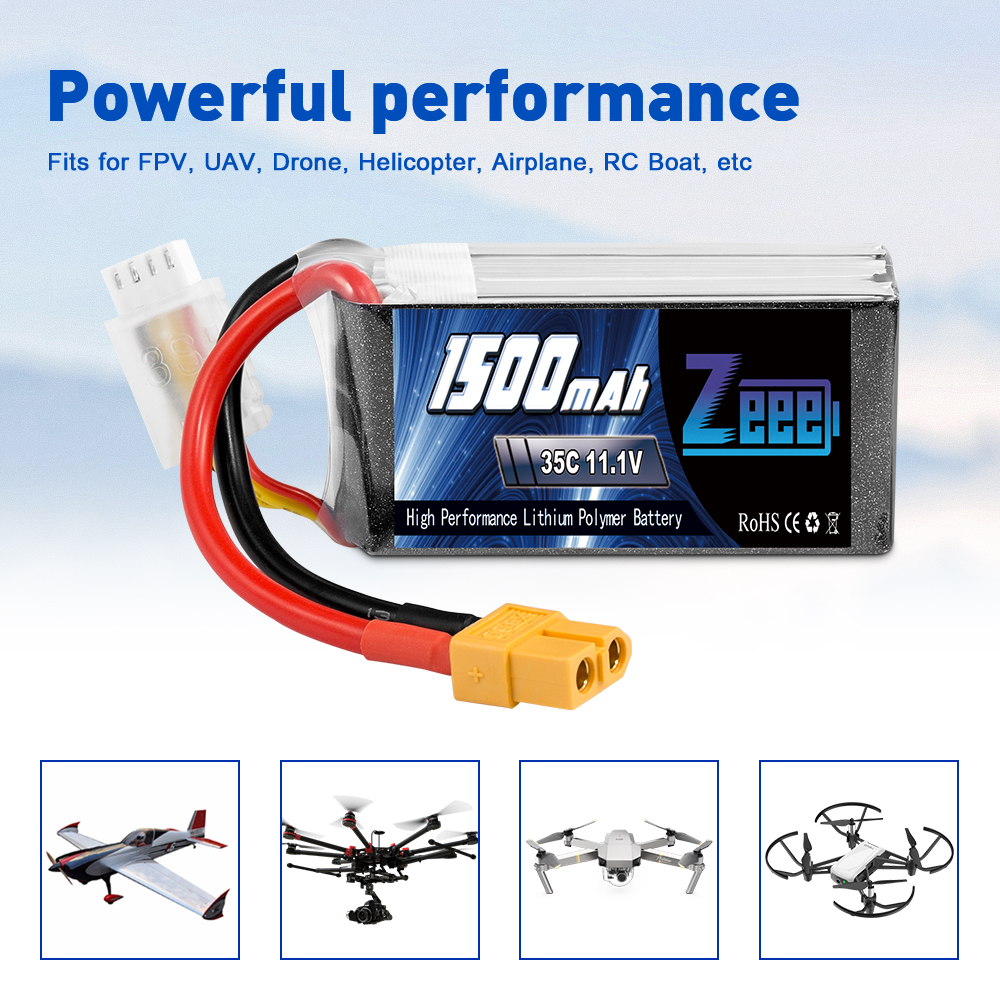 3S 11.1V 1500mAh 35C LiPo Battery XT60 Plug for RC Truck Car Drone Airplane Boat