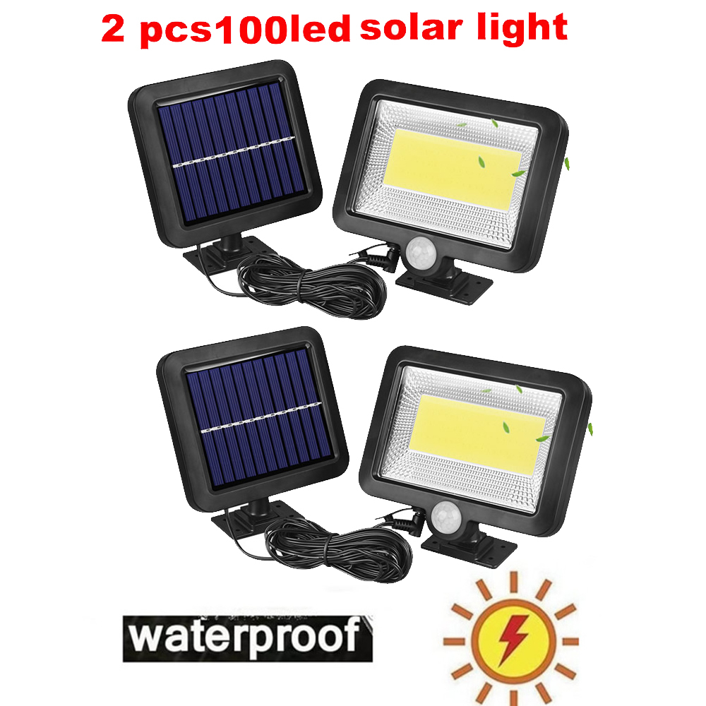 2/4pcs Super Bright Solar Lights 100/56/30 LED Solar Power Outdoor Motion Sensor Light,LED On Both Side Waterproof For Deck,Yard