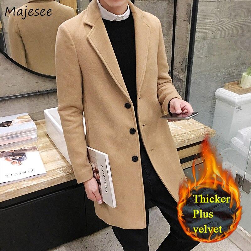 Wool Men Winter Large Size Thicker Plus Velvet Warm Pockets Slim Solid All-match Korean Long Coats Mens Soft High Quality Blends