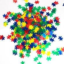 50 g/saco autismo fala anel + aqua mistura metálica quebra-cabeça glitter, arte do prego, tumblers autismo consciência quebra-cabeça peças glitter