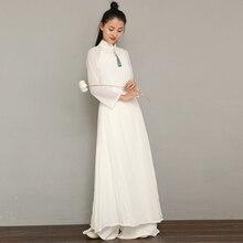 Женское однотонное белое aodai вьетнамское традиционное платье ao dai вьетнамское платье вьетнамские костюмы улучшенное платье Ципао