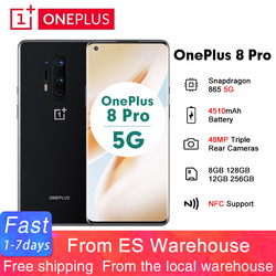 Global Rom Oneplus 8 Pro 6.78'' 5G Android 10 Snapdragon 865 8GB/12GB 128GB/256GB 19.8:9 Smartphone 4510mAh 48MP NFCMobile Phone