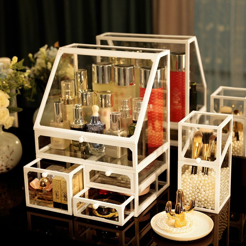 Transparent White Or Black Edge Storage Box Tissue Jewellery Finishing Container Necklace Ring Makeup Organizer