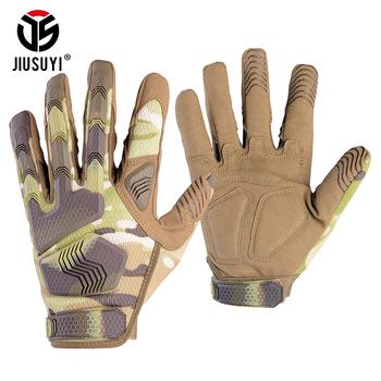Multicam taktyczne wojskowe rękawice męskie kamuflaż Paintball strzelać gumowe Knukcle ochronna antypoślizgowa rękawica ze wszystkimi palcami rękawiczki tanie i dobre opinie JIUSUYI Dla dorosłych Unisex Mikrofibra NYLON Stałe Nadgarstek Nowość Tactical Full Finger Gloves S M L XL Men Women Unisex