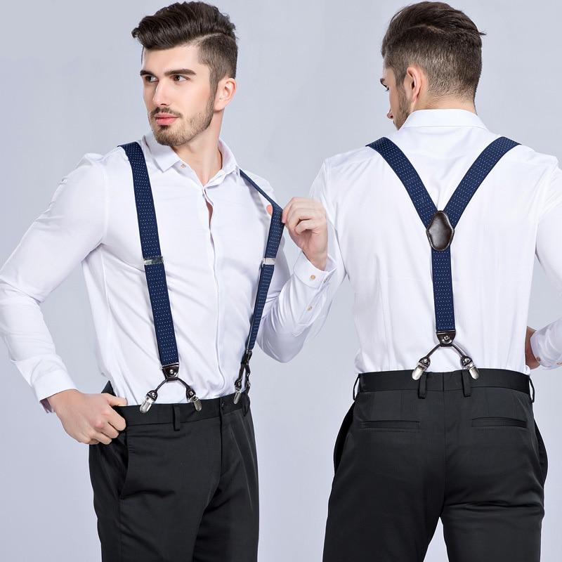 Fashion Gentlemen Suspenders Adjustable 6 Strong Clips Men Suspender Gift Heavy Duty Y Back Trousers Braces Shirt Stays Belt