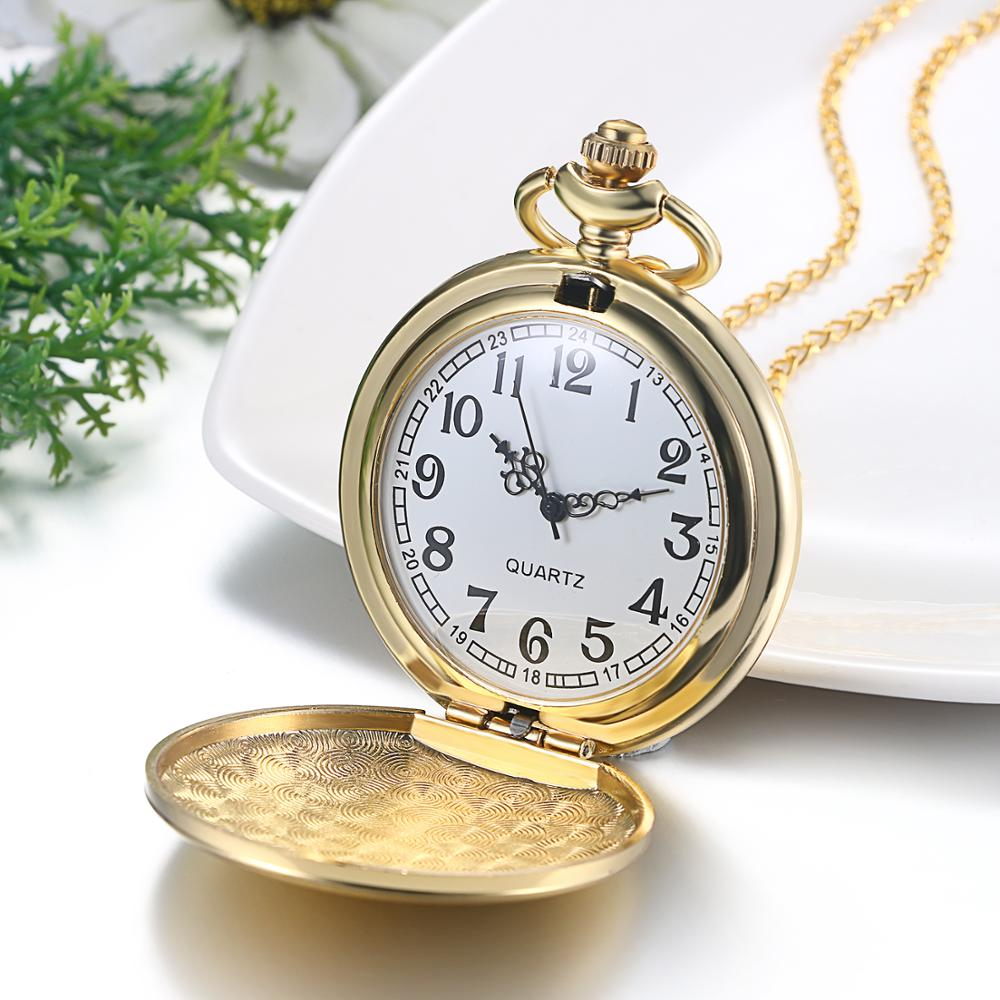 Lancard Fashion Golden Smooth Quartz Pocket Watch Jewelry Man Women With Necklace Chain Gifts For Men Women Kids