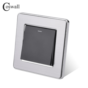 Image 4 - Coswall 1 Gang 1 Way Rocker Light Switch On / Off Wall Switch Stainless Steel Brushed Panel AC 12~250V White Black Gold