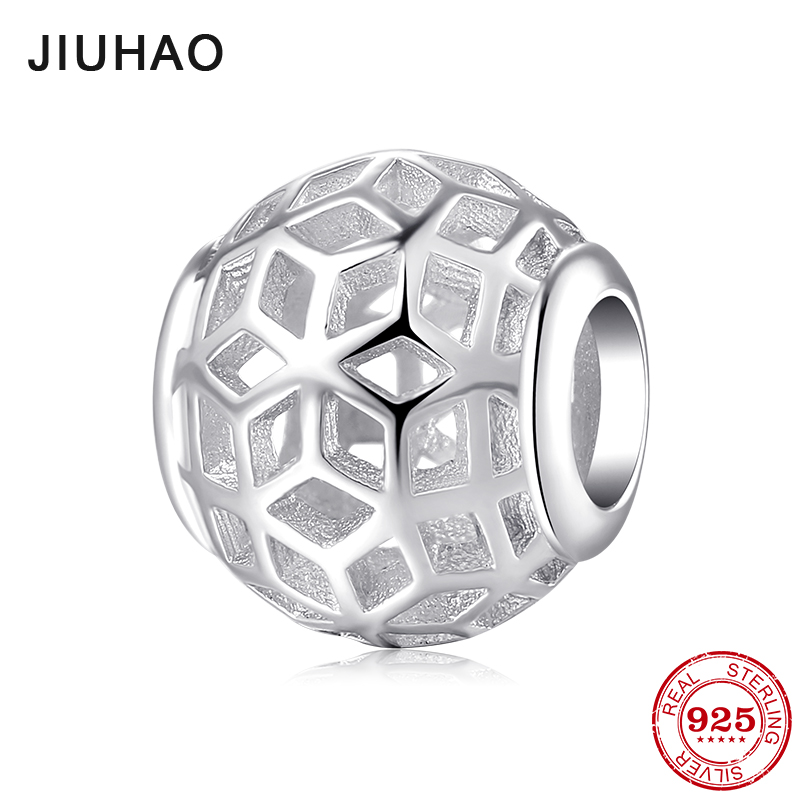 2018 Hot Sale 925 Sterling Silver Round Shape Hollow Out Charms Beads Fit Original Pandora Charm Bracelet Jewelry Making