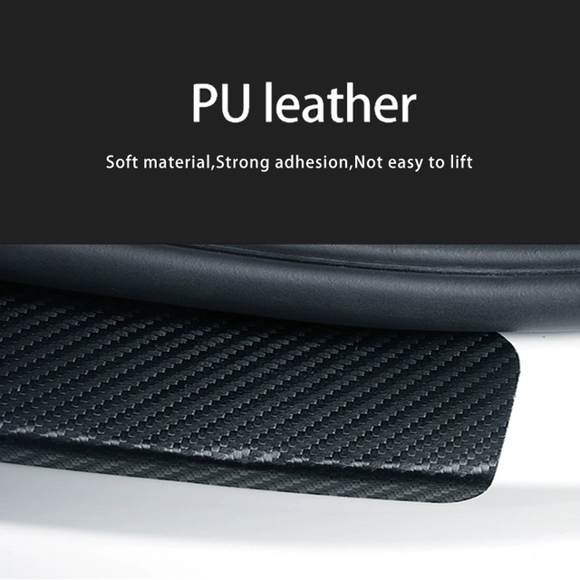 1PC Car Trunk Bumper Guard Pad Protector Sticker For Chevrolet Spark PU Leather Car Stickers Interior Accessories 5
