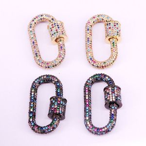 Image 2 - 3PCS, Rainbow CZ Micro Pave Crystal Zirconia Oval Clasp, Screw Metal Clasps, Necklace Connector Clasps