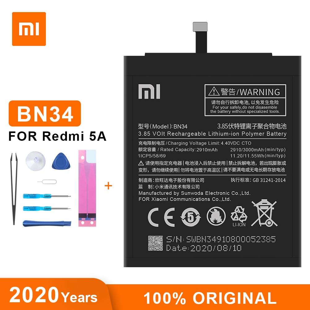Оригинальный аккумулятор Xiao Mi BN34 3000 мАч для Xiaomi Redmi 5A 5,0 дюйма, высококачественные сменные батареи для телефона|Аккумуляторы для мобильных телефонов|   | АлиЭкспресс