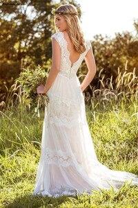 Image 5 - Boho Wedding Dresses Lace Appliques A Line Open Back Cap Sleeves Country 2020 Bridal Gowns Bride Dress Vestido De Noiva