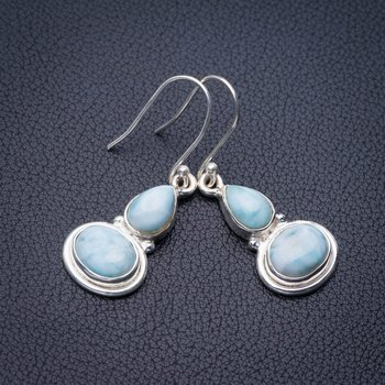 StarGems Natural Caribbean Larimar Handmade 925 Sterling Silver Earrings 1.5 E1200 image
