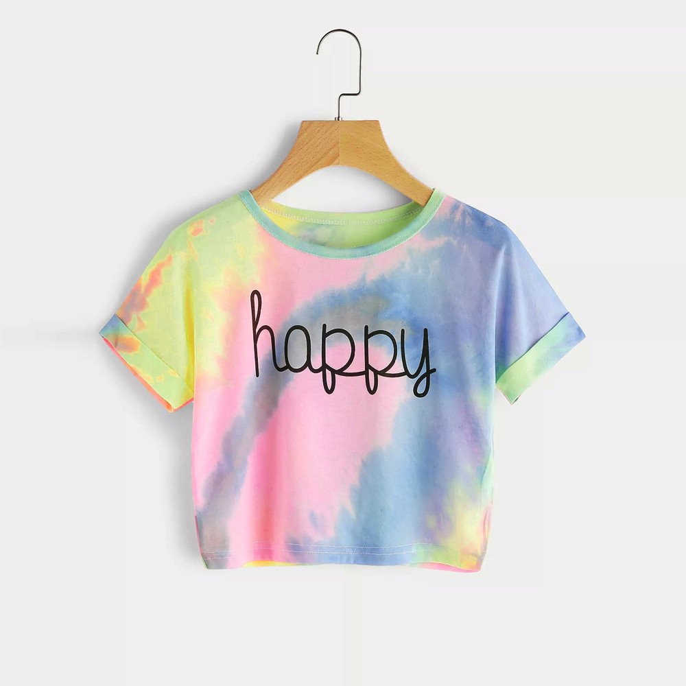 Women Gradient Letter Print T shirt Crop Top Patchwork Color Tee Tops O Neck Casual Short Sleeve Tops Cut Korean Femme T shirts