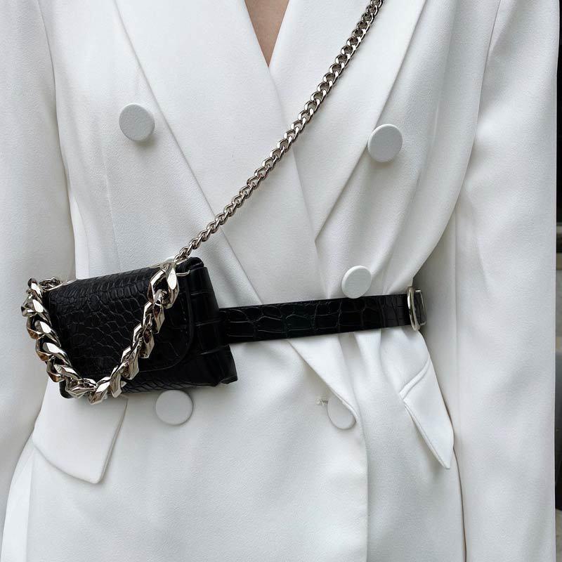 Small Bum Bags Women Bags Alligator Belt Bag Chain Streetwear Fittings Fashion Waist Bag Lipstick Pocket Mini Female Fanny Pack