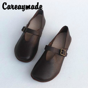 Careaymade-New Full leather handicraft comfortable women's shoes with top layer and cowhide four seasons single shoes keerygo women s shoes inside and outside the full leather lace leather shoes comfortable feet big shoes