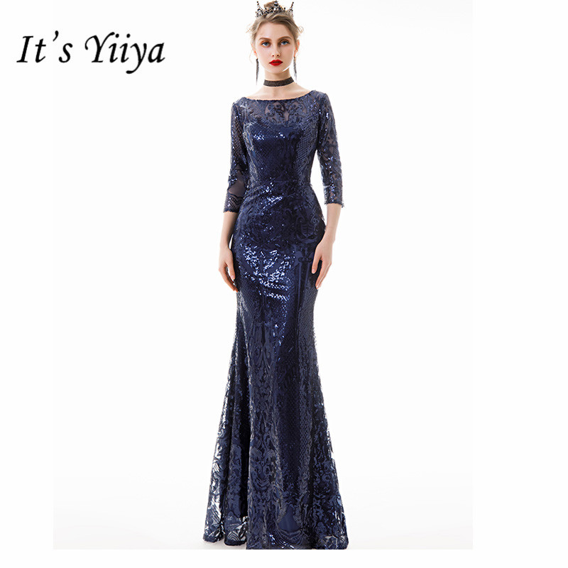 It's Yiiya Evening Dress Elegant O-Neck Zipper Women Party Mermaid Dresses Half Sleeve Sequin Floor-Length Robe De Mariee E824
